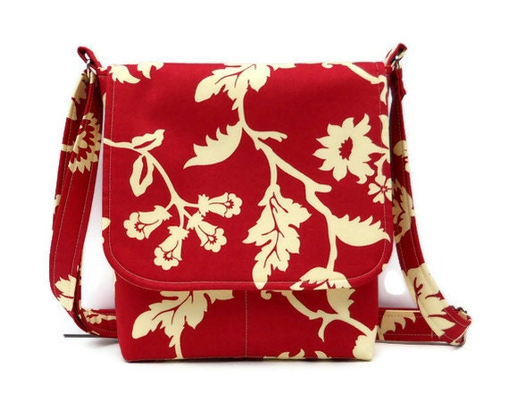 Small Messenger Bag Sling Purse - Cream Floral on Red
