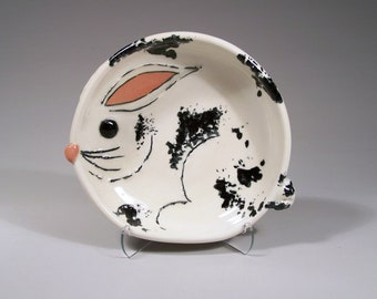 Bunny Rabbit Children's Plate - Handpainted Porcelain - 3RD PRICE REDUCTION