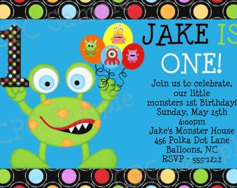 Monster Birthday Invitation - Little Monster 1st Birthday Party Invitations - Printable or Printed - Monster 1st Birthday Invite - Boy Girl