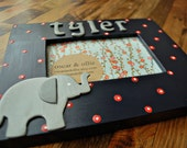 Elephant picture frame Personalized frame with elephant Childrens picture frame by oscar & ollie