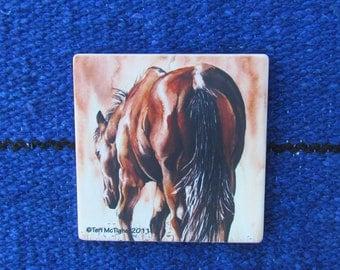 Coaster - sandstone, original artwork, horse