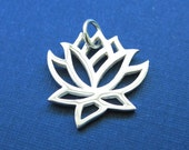Sterling Silver Small Open Work Lotus Charm