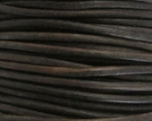 2 Yards - 2mm Natually Dyed Dark Distressed Brown Leather Cord