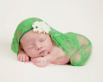 green baby headband, newborn headband