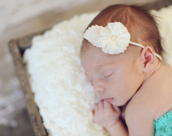 ivory baby headband, little girl hair accessories, pink flower headband