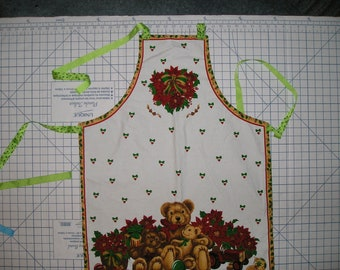 Teddy Bear Christmas Fabric Apron - Lined - Adjustable