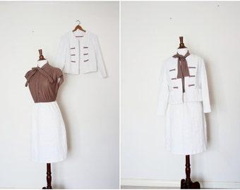 vintage ascot bow dress and jacket SET sz S