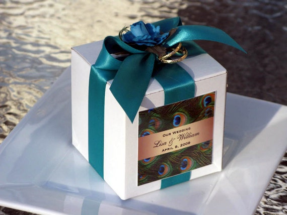 personalized PEACOCK wedding favor boxes - 3 inch square