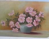 Vintage VICTORIAN Wild Pink ROSES Carolina Rose Sunday Artist Original Oil Early 1900s
