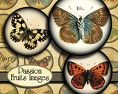 """Antique Butterfly Images Digital Collage Sheet- 1"""" Round Bottlecaps-- Instant Download"""