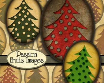 Shabby Chic Christmas Trees digital collage sheet- 30x40ovals-- Instant Download
