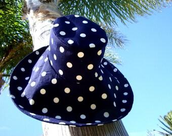 Women's Hat Polka Dot Sun Hat Blue and White Beach hat wide brim Sun Hat Spring Fashion Trend by  Freckles California
