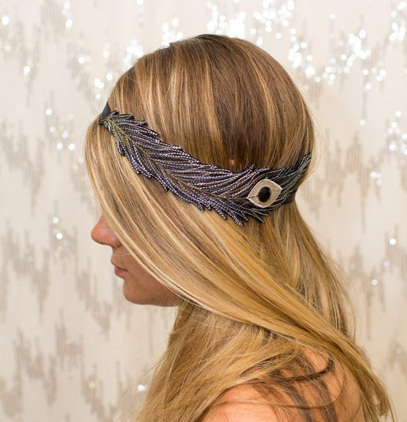 Black and White Peacock Feather Embroidered Elastic Headband