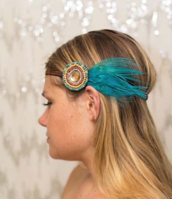 Turquoise Peacock Feather Tribal Beaded Bohemian Headband - gypsy, hippie, warrior, teal