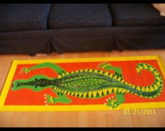 Gator floor cloth 3 ft wide,5 ft long hand painted