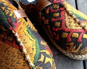Shoes  for  casual  days  , Tribal  fabric , Colorful  Laos  Embroidered