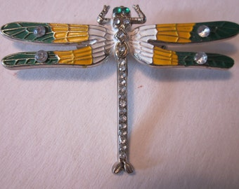 Vintage Dragonfly Brooch with Yellow/Green Wings & Clear Rhinestone Abdomen