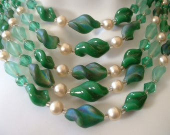 Vintage FIVE Strand Necklace Green Blue Green Faux Pearl 1940 Cascading Waterfall Glass Beaded  1940 Japan