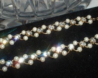 Vintage Rhinestone Faux Peal  Bracelet Linked  with Wirework Elegant Classic 1960