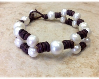 SALE - Freshwater Pearl and Leather Bracelet - TaWee