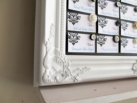 Large FRAMED Chalkboard Wedding Menu Escort Card Holder Seating Chart Chalk Board White Shabby Chic Magnetic Large - MORE COLORS