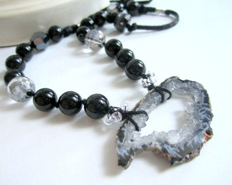 Black Onyx Necklace Hand Knotted Beaded Gemstone Jewelry Crystal Agate Druzy Pendant- Allure