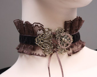 Chocolate  steampunk Gothic necklace victorian bumblebee gear neck corset