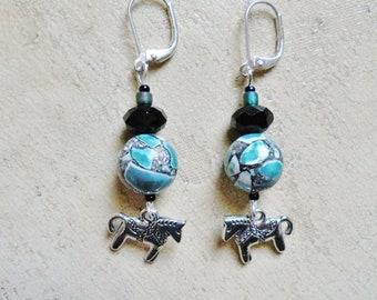 Horse Mosaic Turquoise Earrings Dangle