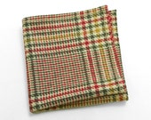 Wool Pocket Square in pine green, blood red, mustard, and ivory