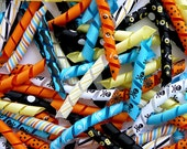 100 Korker Pieces - HALLOWEEN C - Precut, Ends Heat Sealed, Ready to Use - 3/8 Grosgrain Ribbons