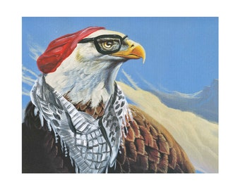 Hipster Bald Eagle 8.5x11 print