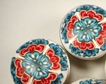 6 CABINET KNOBS/ PULLS  Polymer & Metal  Blue, Red on White Clay  30 available