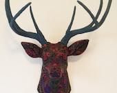 Black Paisley Deer Head Wall Mount