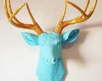 Gold and Baby Blue Deer Head Wall Mount