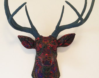 Black Paisley Deer Head Wall Mount
