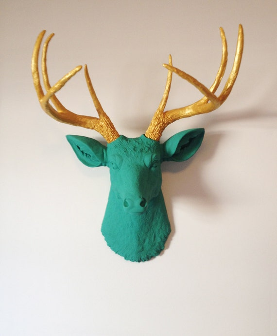 Gold and Teal Deer Head Wall Mount