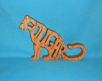 Big Cat Cougar Scroll Saw Wooden Puzzle