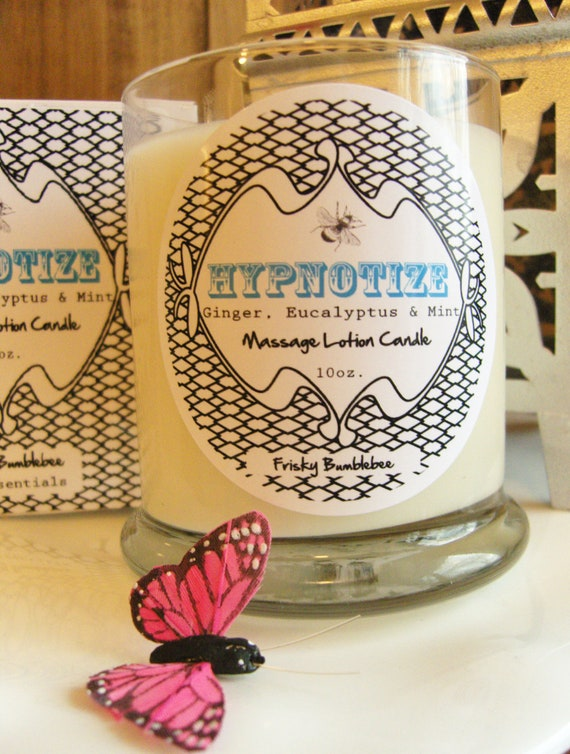 Hypnotize- Soy Massage Lotion Candle 10oz boxed- FREE Shipping in US,  Ginger, Eucalyptus & Mint scent