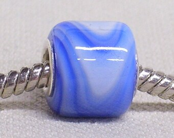Handmade Lampwork Large Hole Bead Silver Cored Cylinder Bead White with Blue Swirl