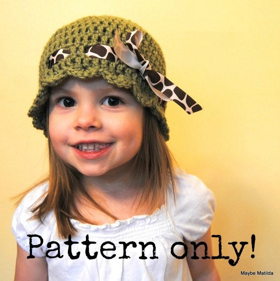 PDF Pattern for Baby and Childs Scalloped Flapper Hat with Ribbon with Permission to Sell What You Make