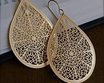 Dangle Earrings-Intricate Gold Teardrop Earrings
