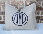 Initial Monogram Pillow 16x20 / Flange Edge / Thread and fabric options