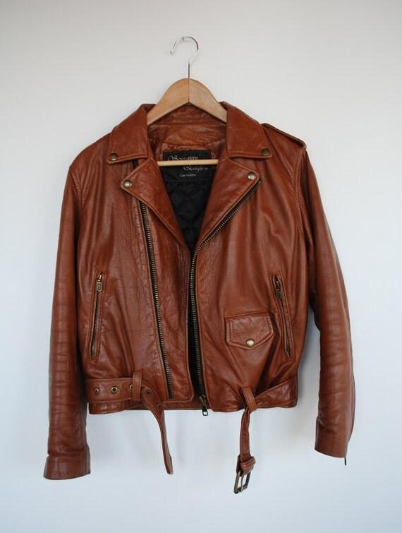 Vintage Caramel Brown Leather Motorcyle Jacket S