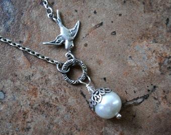 Silver Sparrow Pearl Necklace, Pearl Wedding Necklace