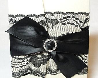 Lace Wedding Invitation, Lace Wedding Invite, Wedding Invitations, Vintage Wedding Invite, Rustic Wedding Invite,   Pocketfold Invite EMMA