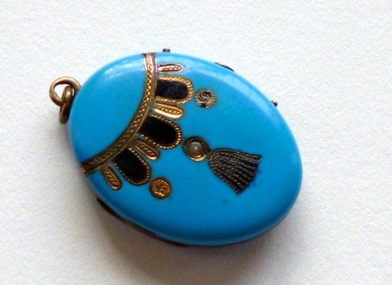Victorian Blue Enamel Locket Seed Pearl