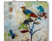 The Artful Bird Handmade Glass Wall Hanging by TzaddiHome - BOTANICALZ Collection - Primary Bird 1 of 4