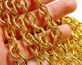Gold chain - lead free nickel free won't tarnish - 1 meter-3.3 feet made from aluminum - 13mm by 10mm - CA26