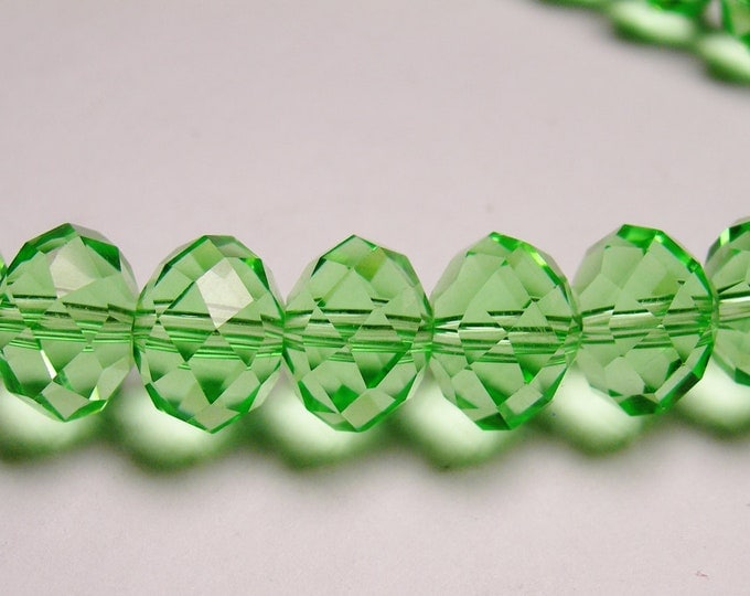Crystal faceted rondelle -  20 pcs - 12mm by 9mm - AA quality - green