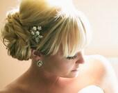 Bridal Hair Comb,Pearl Bridal Hair Comb,Ivory or White Pearls,Rhinestone Hair Comb,Rhinestone Bridal Hair Comb,Bridal Jewelry,Pearl,SHARON